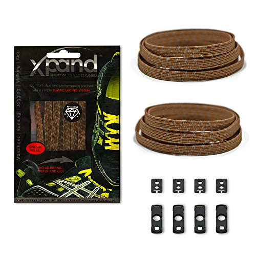 Xpand No Tie Shoelaces System with Reflective Elastic Laces - Brown - One Size Fits All Adult and Kids Shoes (Brown Boots With Ties compare prices)