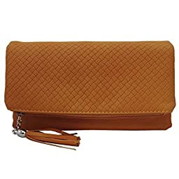 BMC Womens Saddle Brown Textured PU Faux Leather Quilted Pattern Triple Compartment Zipper Tassel Fashion Clutch Handbag