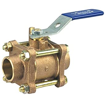 "NIBCO S-590-Y Cast Bronze Ball Valve, Three-Piece, Lever Handle, 1-1/2"" Female Solder Cup"