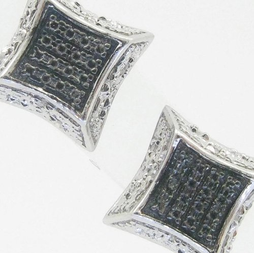 Mens 925 Sterling Silver earrings fancy stud hoops huggie ball fashion dangle black and white small square sided pave earrings