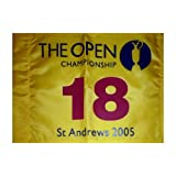 2005 British Open (St. Andrews Yellow) Golf Pin Flag - Tiger Woods Champion , Jack Nicklaus Final