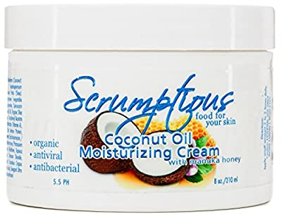 Coconut Oil Moisturizer Skin Cream for Face & Body - by Scrumptious - Natural Organic Manuka Honey and Aloe Vera Formula - Premium Quality Fragrance Free Cream - Hydrates Skin and Provides Moisture Balance for Your Skin