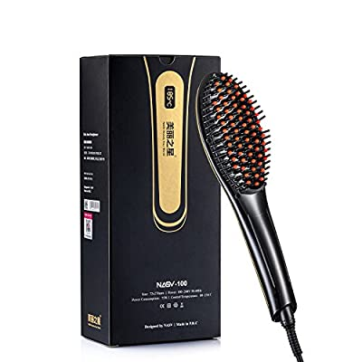 Original Nasv Professional Hair Straightener Brush--instant Magic Silky Straight Hair Styling, Anion Hair Care, Anti Scald, Zero Damage