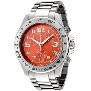 Mens 50041-66 Eograph Collection Chronograph Orange Dial Stainless Steel Watch