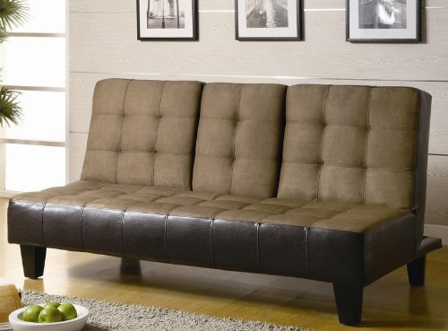 coaster-sofa-beds-and-futons-300237-6925-convertible-sofa-with-drop-down-console-cup-holders-microfi