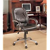 Office desk chair with arms mid-back dark brown with silver metal accents