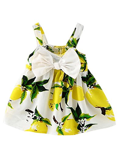 NNJXD Baby Girl Birthday Party Printed Sling Dress for Newborn and Toddler Size 13-24 Months Light Yellow