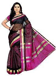 Veer Prabhu Creation Women's Cotton Saree with Blouse Piece (Black & Pink)