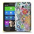 Nokia Lumia 630 / 635 H�lle Hardcase (Harte R�ckseite) Case Cover - Blumen Muster Schutzh�lle f�r Nokia Lumia 630 / 635 - Wei� und Rot, Lila, Pink, Rosa, Blau und Gr�n