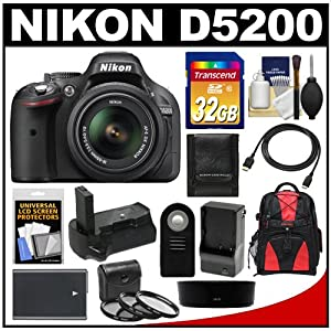 Nikon D5200 Digital SLR Camera & 18-55mm G VR DX AF-S Zoom Lens (Black) with 32GB Card + Backpack + Grip + Battery & Charger + Remote + HDMI Cable + Filters Kit