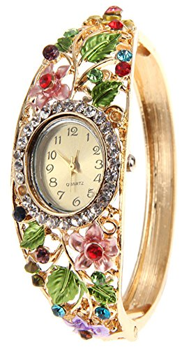 COCOTINA Womens Fashion Flower Bangle Style Bracelet Rhinestone Round Dial Analog Quartz Wrist Watch - Multi-colored (Round Dial Analog Watch compare prices)