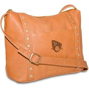 NBA Tan Leather Ladies Mini Top Zip Handbag by Pangea Brands