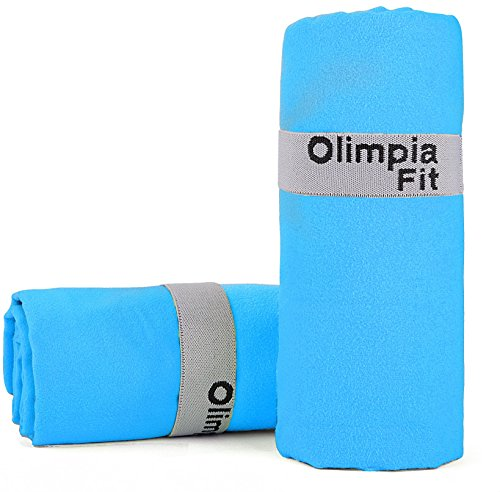 Blue Set of 2 - Microfiber Quick Dry Towel - Sports Towel, Fitness, Beach Towel - Packs Small - Light Weight - Absorbent - Quick Dry - Microfiber Large Towel for Pool, Camping, Travel