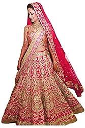 Fabron pink bridal heavy lehenga for women.