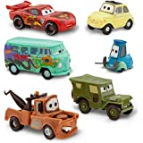 """DISNEY PIXAR CARS """"2"""" FIGUREN AUTO SET - Lightning McQueen, Tow Mater, Sarge, Guido, Luigi und Fillmore (PVC, Plastic)"""