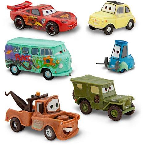 DISNEY-PIXAR-CARS-2-FIGUREN-AUTO-SET-Lightning-McQueen-Tow-Mater-Sarge-Guido-Luigi-und-Fillmore-PVC-Plastic