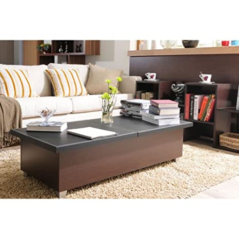 Leatherette Top Leather Coffee Table. This Beautiful Space Saving, Living Room, Storage Table Is Fantastic. Space Savers Work in Small Rooms and Large
