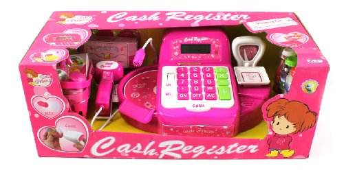 Mini Princess Pretend Play Battery Operated Toy Cash Register W/ Working Scanning Action, Balance, Calculator, Microphone