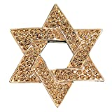 Celebrity Jewellery-Gold Tone Hexagram Star Rhinestone Brooch Swarovski Elements Crystal Magen David Brooch for Women/Men 2013 B30