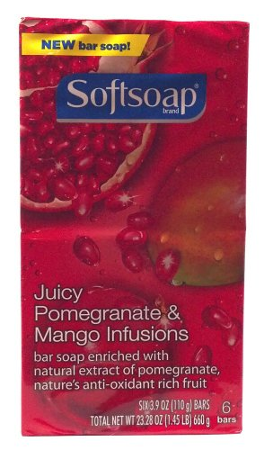 Softsoap Brand Juicy Pomegranate And Mango Infusions Bar Soap Enriches With Natural Extract Of Pomegramate Anti-Oxidant Rich Fruit Six 3.9 Oz. Bars (1 Pack)