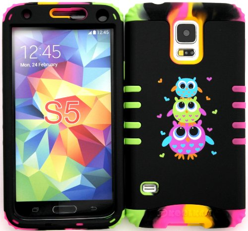 Wireless Fones TM Samsung Galaxy S5 Case Dual Layer Hybrid Impact Resistant Protective Cute Owls Snap on Over Two Tone 3 Skin (Cute Protective S5 Case compare prices)