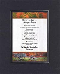 Touching and Heartfelt Poem for Special Friends - Never Too Busy - Always a Friend Poem on 11 x 14 inches Double Beveled Matting