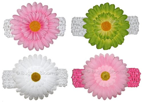 Gerbera Daisy Flower Crochet Headband Gerbera 4 piece Set (Pink & White, Green & White, Dark Pink & Pink, White & White) Gerber - girls child baby toddler apparel head hair band bow bows girl soft infant youth accessory