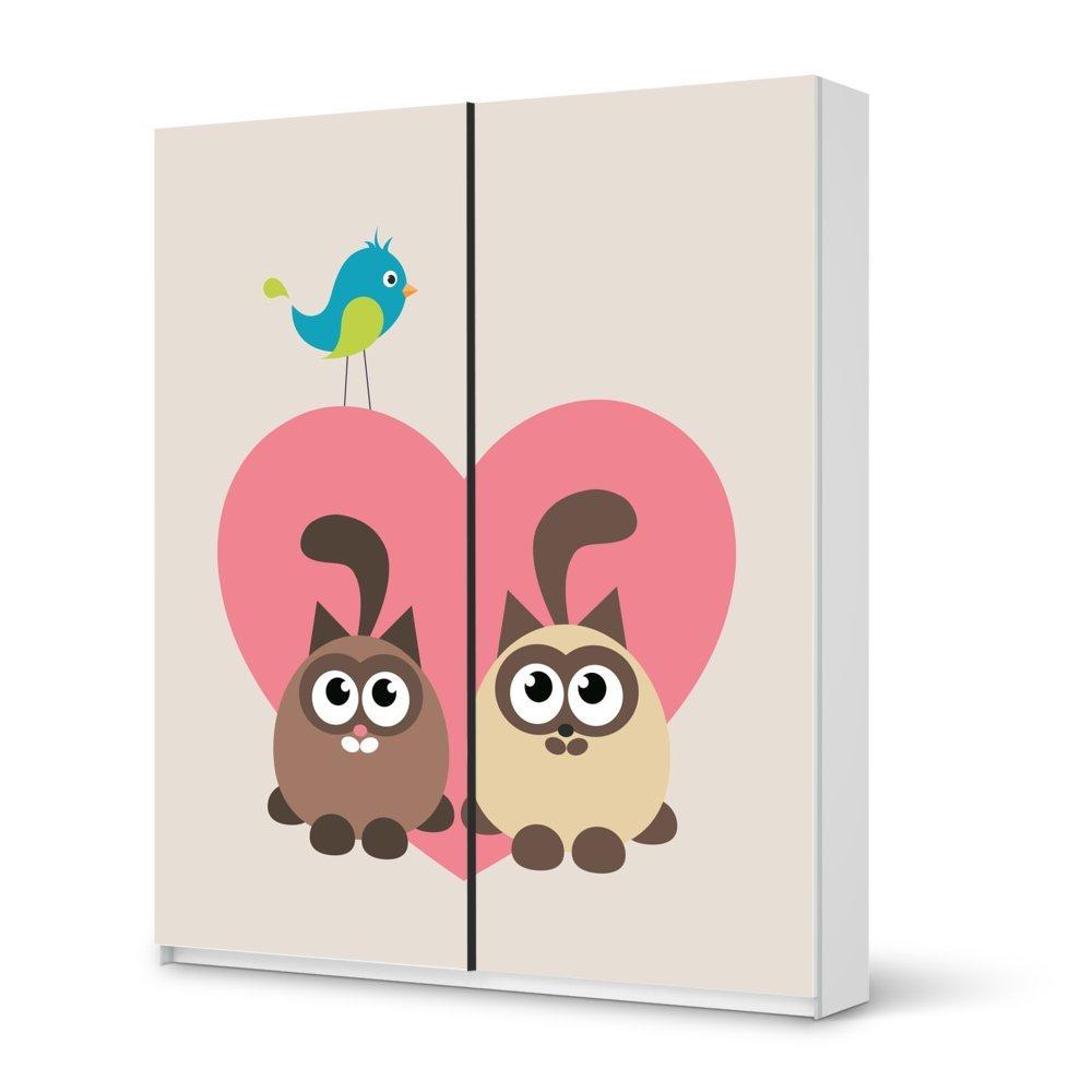 Folie IKEA Pax Schrank 236 cm Höhe – Schiebetür / Design Aufkleber Cats Heart / Dekorationselement kaufen