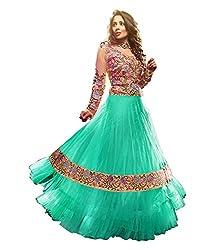 Fabian Fashion Green Net Semi-Stiched Dress