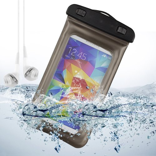 Gray Waterproof Pouch Case Dry Bag For Samsung Galaxy S5 / Note 2 / Note 3 / Lg G2 / Htc One M8 + Vangoddy White Headphone With Mic