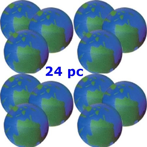 Earth Squeeze Balls - 24 Pc World Globe Relax Balls - BULK LOT OF 2 DOZEN