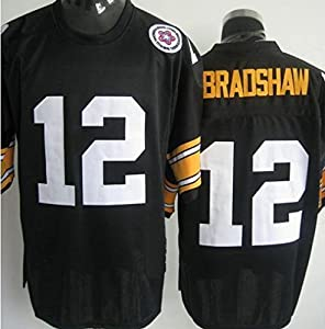 Classic Terry Bradshaw #12 Pittsburgh Steelers Men's Unsigned Custom Football Jersey -Black Throwback Jersey by jdiankuang