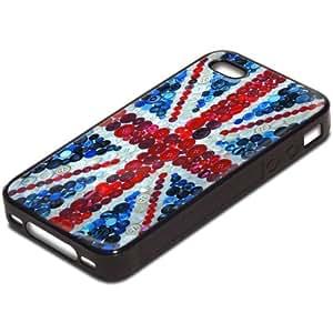 Drapeaux Union Jack 1, Carte du Monde, Antichoc Tough Silikone Rigide Coque Etui Case Housse Noir avec l'Image Coloré pour Apple iPhone 4 4S.