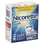 Nicorette Stop Smoking Aid, 2 mg, Coated Gum, White Ice Mint, 100 pieces
