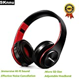 SKnnu Bluetooth Headphones Over Ear Wireless Headphones Noise Cancelling Headphones w/ AM FM Radio,Micro SD Card Slot,Built-in MIC,Foldable, Wireless Wired Dual Mode for PC/Cell Phones/TV Black Red
