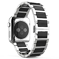 Apple Watch Band, MoKo Stainless Steel Ceramics Link Replacement Smart Watch Strap Bracelet with Butterfly Buckle Clasp for 42mm Apple Watch All Models - BLACK (Not Fit iWatch 38mm Version 2015)