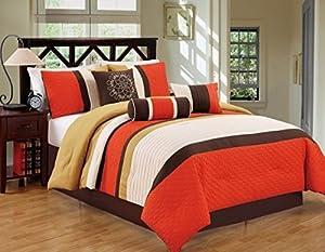JBFF Bed in Bag Microfiber Luxury Comforter Set, King, 7 Piece, Orange Yellow