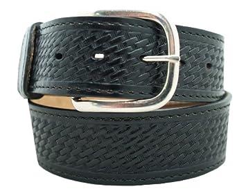 "Men's Casual Belt 1 1/2"" Basketweave embossing w/ decorative stitching. Black, Size 30"