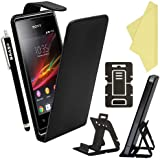 BAAS® Sony Xperia E Black Flip PU Leather Case Cover with 3x Screen Protector & Stylus Pen