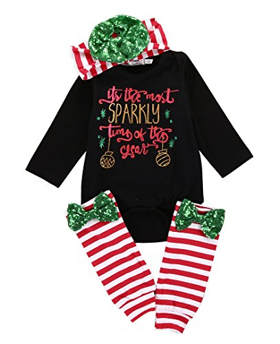 Newborn Baby Boy Girl Red Xmas Romper Tops+ Legging Warmers + Hairbans 3PCS Outfits Set Clothes (0~6months, red)