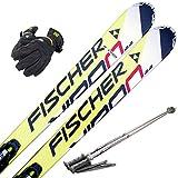 FISCHER(フィッシャー) 4点セット カービングスキー VIRON 2.2 165cm 金具付き ストック110cm/レディースグローブ