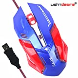 LIGHTDESIRE Keve 6 Buttons 3200 DPI Sensor Professional LED Optical USB Wired Gaming Mouse for PC Mac