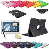 3in1 SET Note 10.1 360° PU-Leder + Folie + Pen Samsung Galaxy Note 10.1 N8000 N8010 N8020 Tasche Etui Case (Schwarz)