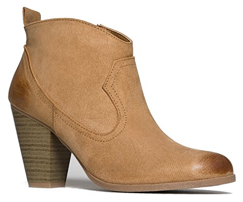 Western Slip On Stacked Heel Bootie - Distressed Ankle Pull Cowboy Women's Boot