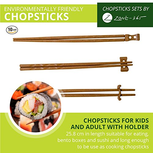 Zone - 365 Natural Rice Husk Bulk Chopsticks with Holder, 9 Inches Japanese Style, Reusable, 10 Sets, Tan