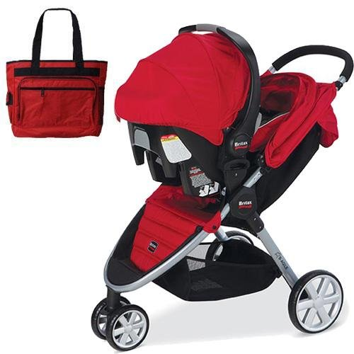 britax b agile travel system with car seat and diaper bag in red all travel bag. Black Bedroom Furniture Sets. Home Design Ideas