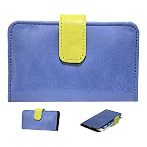 Jo Jo A8 Nillofer Leather Carry Case Cover Pouch Wallet Case For samsung Galaxy e-7 Dark Blue Parrot Green