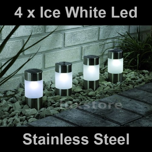 4 x Ice White Solar Led Light Garden Path Marker Mini Bollard Patio Deck Decking- Stainless Steel - Mini Bollard