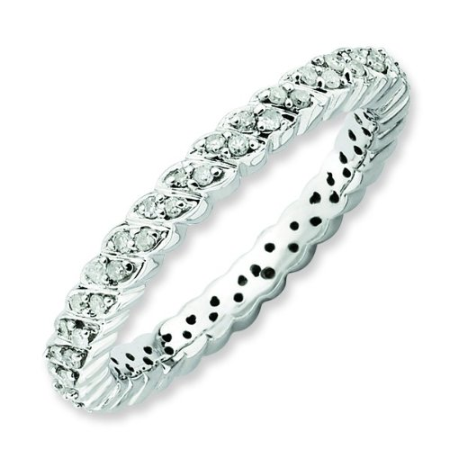 Size 5 - Diamond 2.25mm Swirl Eternity Band Sterling Silver Stackable Ring