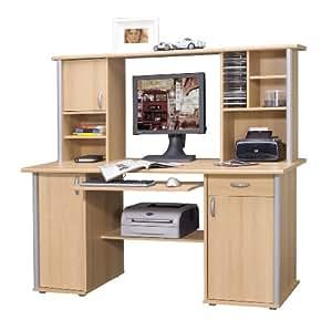 schreibtisch mit aufsatz buche oder kernnussbaum schwarz. Black Bedroom Furniture Sets. Home Design Ideas